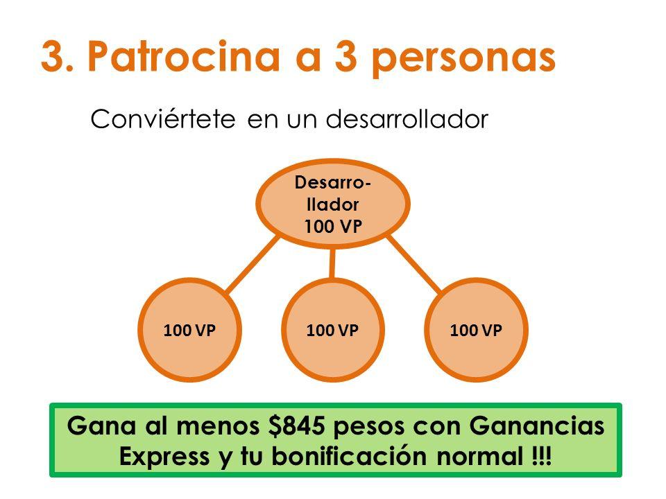 3.Patrocina a 3 personas Conviértete en un desarrollador Desarro- llador 100 VP Gana al menos $845 pesos con Ganancias Express y tu bonificación norma