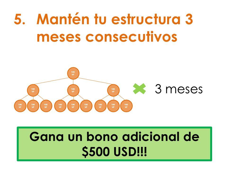 5.Mantén tu estructura 3 meses consecutivos Gana un bono adicional de $500 USD!!! 100 VP 3 meses