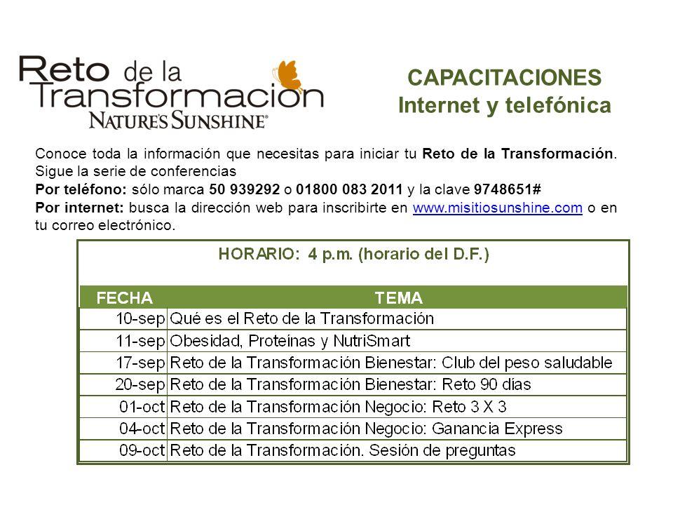 CAPACITACIONES Internet y telefónica Conoce toda la información que necesitas para iniciar tu Reto de la Transformación. Sigue la serie de conferencia