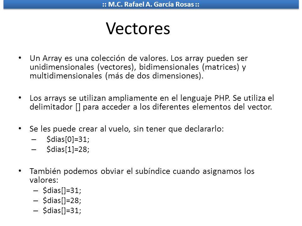 :: M.C. Rafael A. García Rosas :: Vectores Un Array es una colección de valores. Los array pueden ser unidimensionales (vectores), bidimensionales (ma