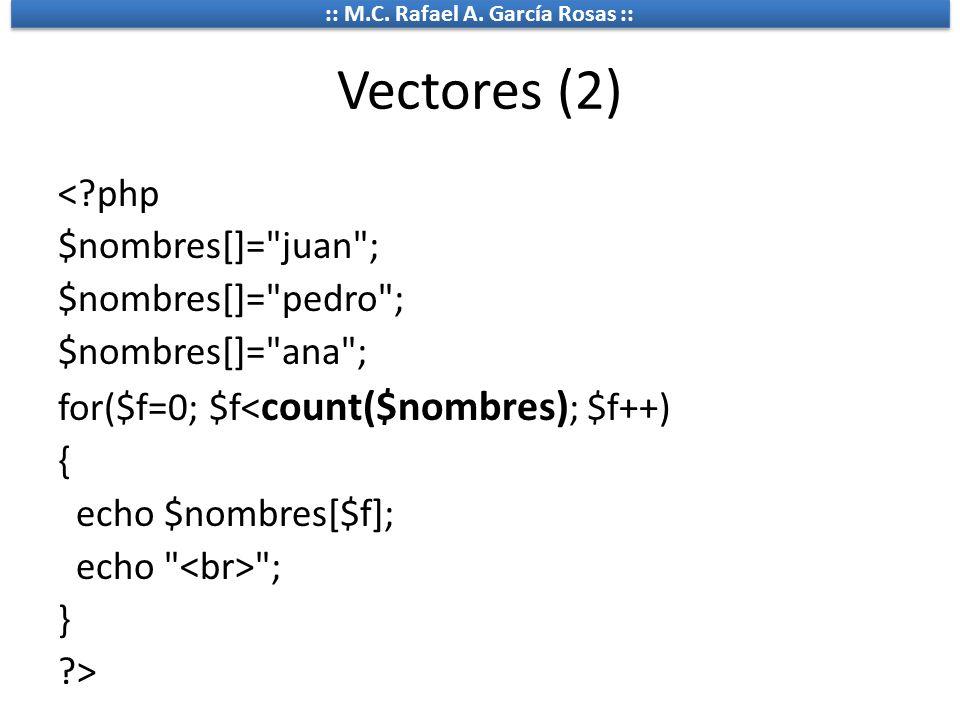 :: M.C. Rafael A. García Rosas :: Vectores (2) <?php $nombres[]=