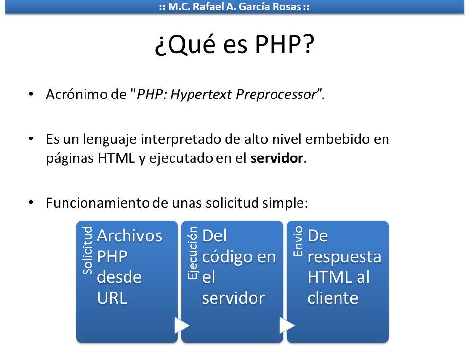 :: M.C. Rafael A. García Rosas :: ¿Qué es PHP? Acrónimo de