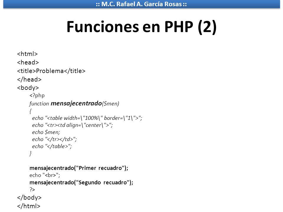 :: M.C. Rafael A. García Rosas :: Funciones en PHP (2) Problema <?php function mensajecentrado ($men) { echo