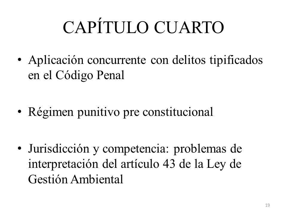 CAPÍTULO CUARTO Aplicación concurrente con delitos tipificados en el Código Penal Régimen punitivo pre constitucional Jurisdicción y competencia: prob