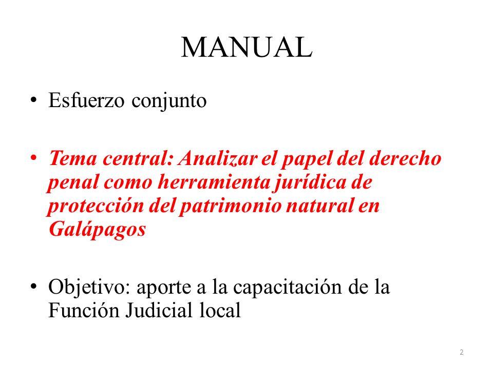 MANUAL Esfuerzo conjunto Tema central: Analizar el papel del derecho penal como herramienta jurídica de protección del patrimonio natural en Galápagos