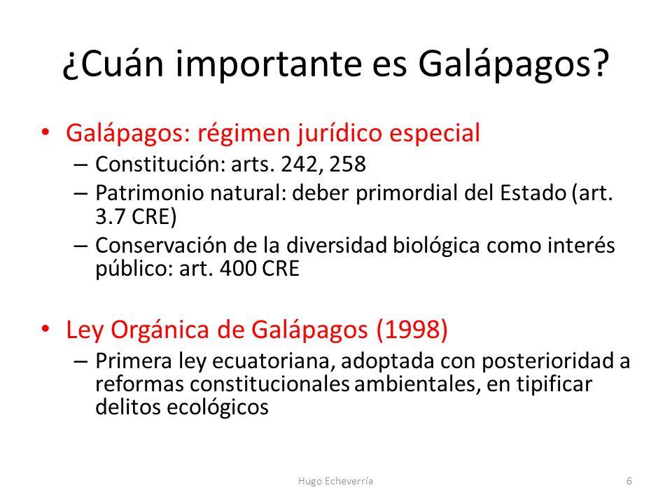 Galápagos: régimen jurídico especial – Constitución: arts. 242, 258 – Patrimonio natural: deber primordial del Estado (art. 3.7 CRE) – Conservación de