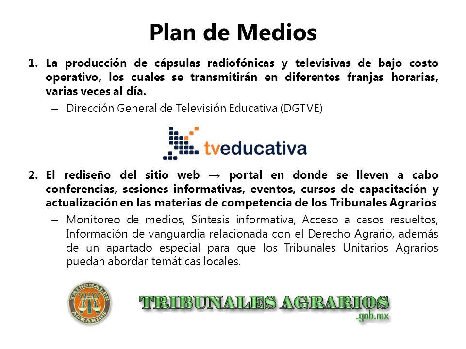 Plan de Medios 1.La producción de cápsulas radiofónicas y televisivas de bajo costo operativo, los cuales se transmitirán en diferentes franjas horari