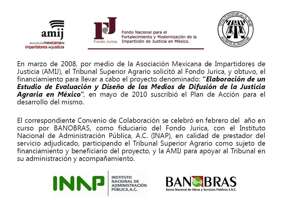 En marzo de 2008, por medio de la Asociación Mexicana de Impartidores de Justicia (AMIJ), el Tribunal Superior Agrario solicitó al Fondo Jurica, y obt