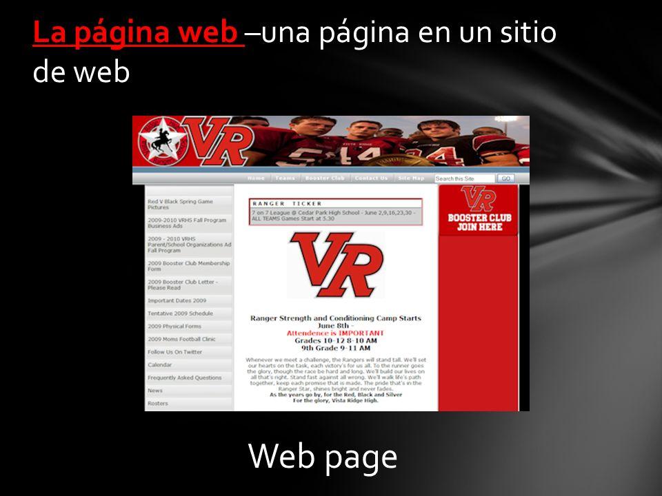 La página web –una página en un sitio de web Web page