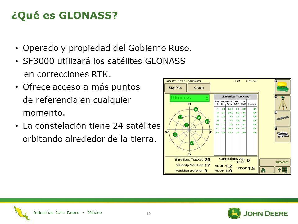 Industrias John Deere – México 12 ¿Qué es GLONASS? Operado y propiedad del Gobierno Ruso. SF3000 utilizará los satélites GLONASS en correcciones RTK.
