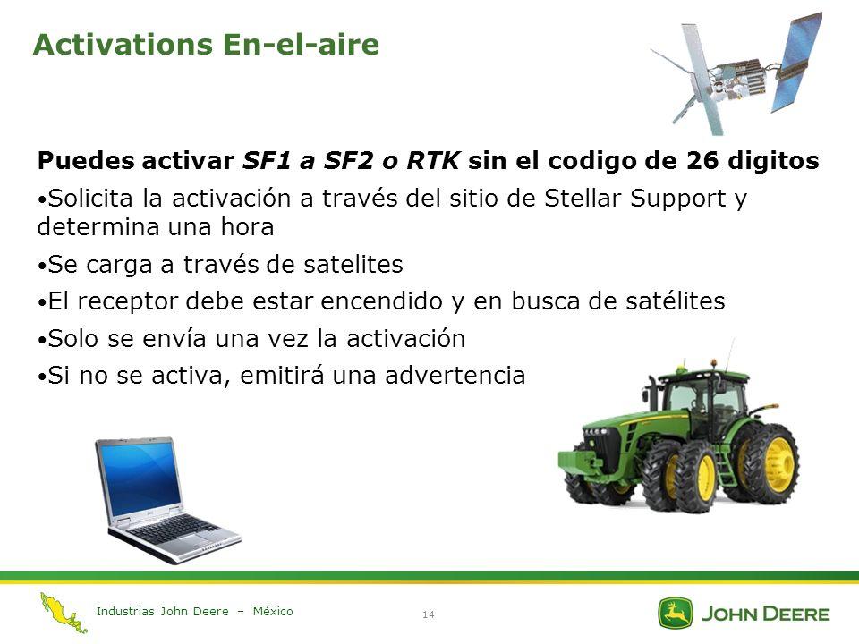 Industrias John Deere – México 14 Activations En-el-aire Puedes activar SF1 a SF2 o RTK sin el codigo de 26 digitos Solicita la activación a través de