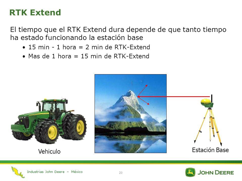 Industrias John Deere – México 20 RTK Extend El tiempo que el RTK Extend dura depende de que tanto tiempo ha estado funcionando la estación base 15 mi