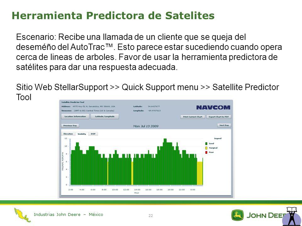 Industrias John Deere – México 22 Herramienta Predictora de Satelites Escenario: Recibe una llamada de un cliente que se queja del deseméño del AutoTr
