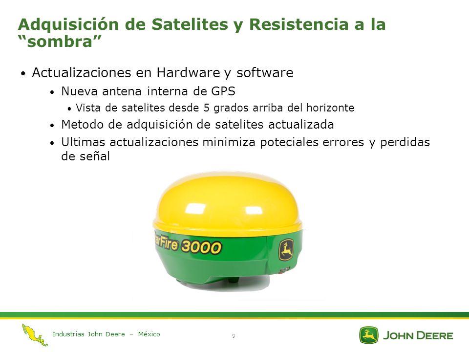 Industrias John Deere – México 9 Adquisición de Satelites y Resistencia a la sombra Actualizaciones en Hardware y software Nueva antena interna de GPS
