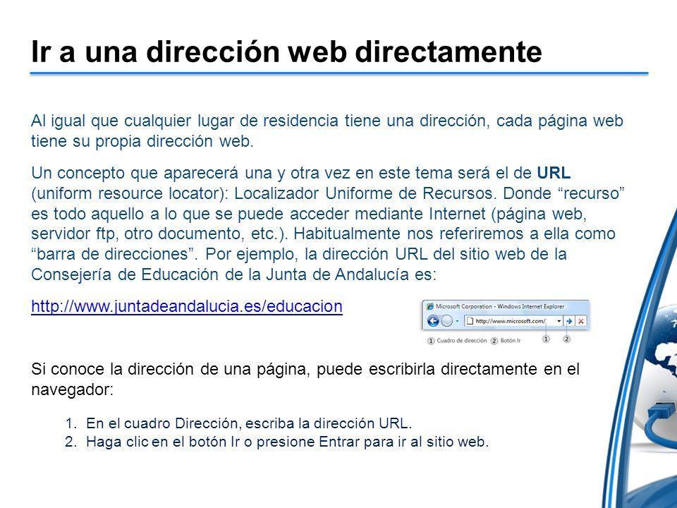Ir a una dirección web directamente Al igual que cualquier lugar de residencia tiene una dirección, cada página web tiene su propia dirección web. Un