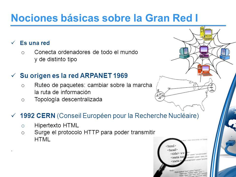 Nociones básicas sobre la Gran Red I Es una red o Conecta ordenadores de todo el mundo y de distinto tipo Su origen es la red ARPANET 1969 o Ruteo de