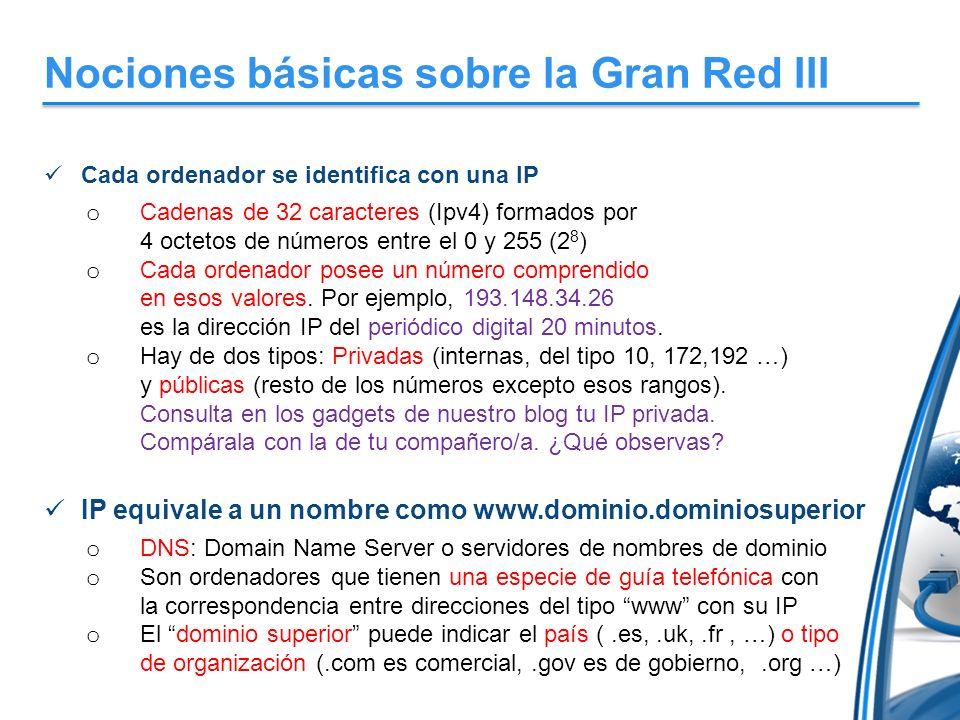 Nociones básicas sobre la Gran Red III Cada ordenador se identifica con una IP o Cadenas de 32 caracteres (Ipv4) formados por 4 octetos de números ent