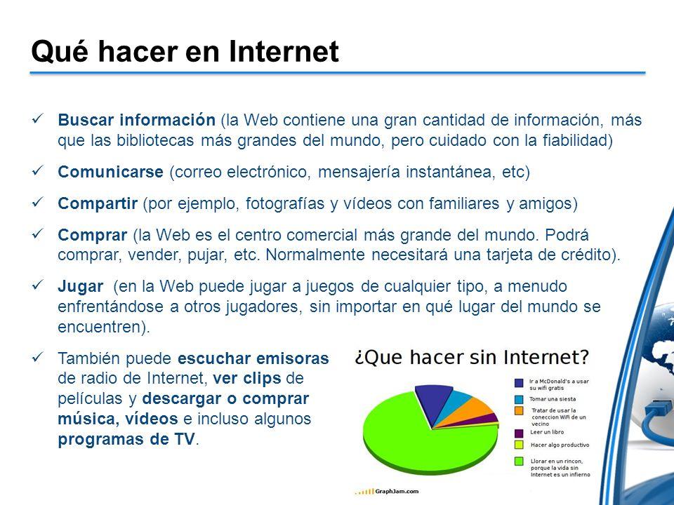 Qué hacer en Internet Buscar información (la Web contiene una gran cantidad de información, más que las bibliotecas más grandes del mundo, pero cuidad