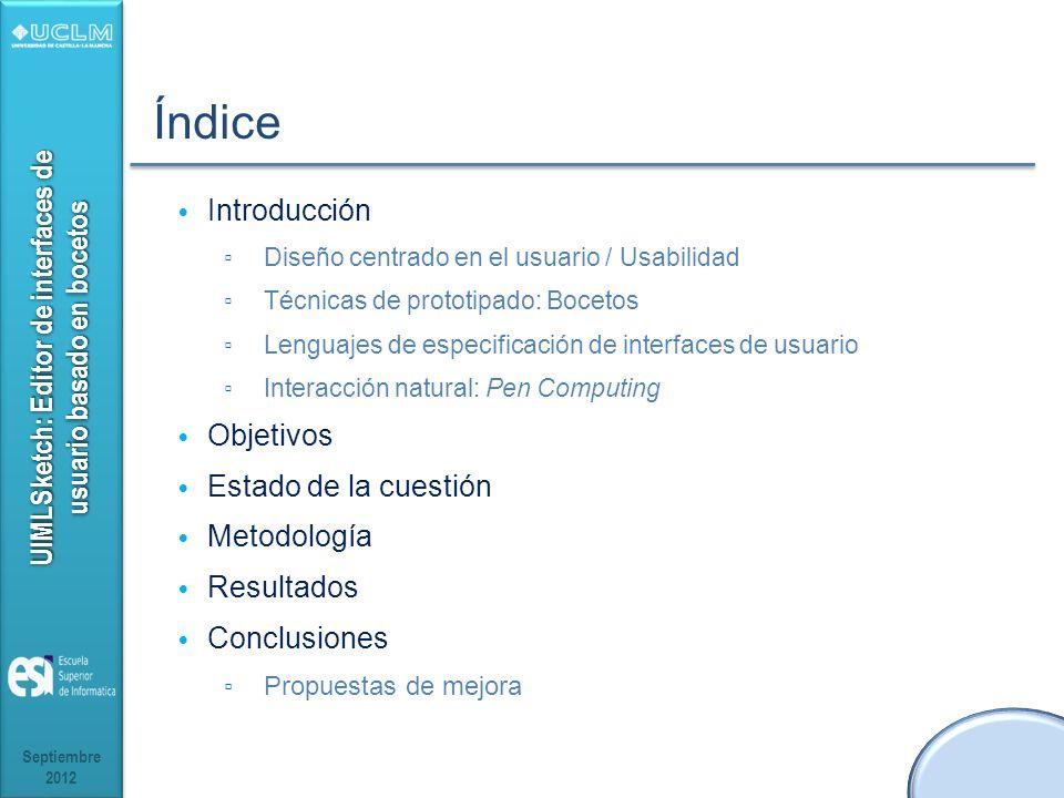 UIMLSketch: Editor de interfaces de usuario basado en bocetos Índice Introducción Diseño centrado en el usuario / Usabilidad Técnicas de prototipado: