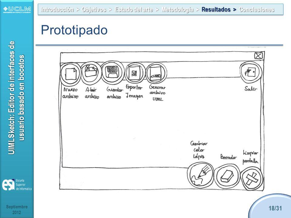 UIMLSketch: Editor de interfaces de usuario basado en bocetos Introducción > Objetivos > Estado del arte > Metodología > Resultados > Conclusiones Septiembre 2012 18/31 Prototipado