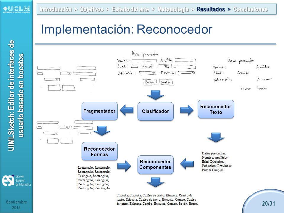 UIMLSketch: Editor de interfaces de usuario basado en bocetos Septiembre 2012 20/31 Introducción > Objetivos > Estado del arte > Metodología > Resultados > Conclusiones Implementación: Reconocedor Clasificador Reconocedor Texto Reconocedor Formas Reconocedor Componentes Fragmentador