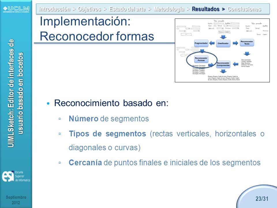 UIMLSketch: Editor de interfaces de usuario basado en bocetos Reconocimiento basado en: Número de segmentos Tipos de segmentos (rectas verticales, horizontales o diagonales o curvas) Cercanía de puntos finales e iniciales de los segmentos Septiembre 2012 23/31 Introducción > Objetivos > Estado del arte > Metodología > Resultados > Conclusiones Implementación: Reconocedor formas