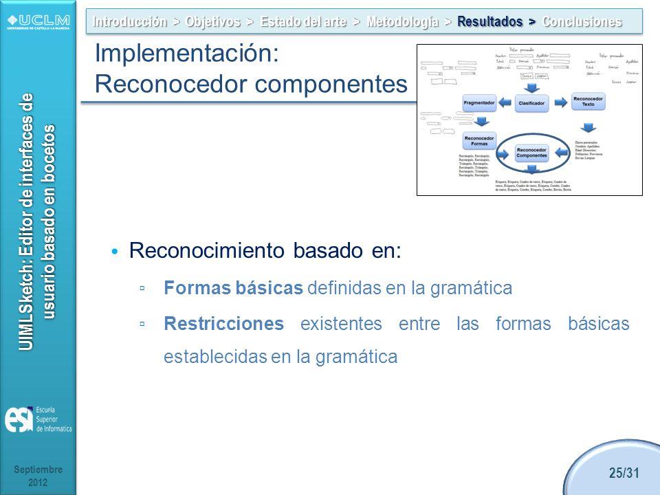 UIMLSketch: Editor de interfaces de usuario basado en bocetos Reconocimiento basado en: Formas básicas definidas en la gramática Restricciones existen