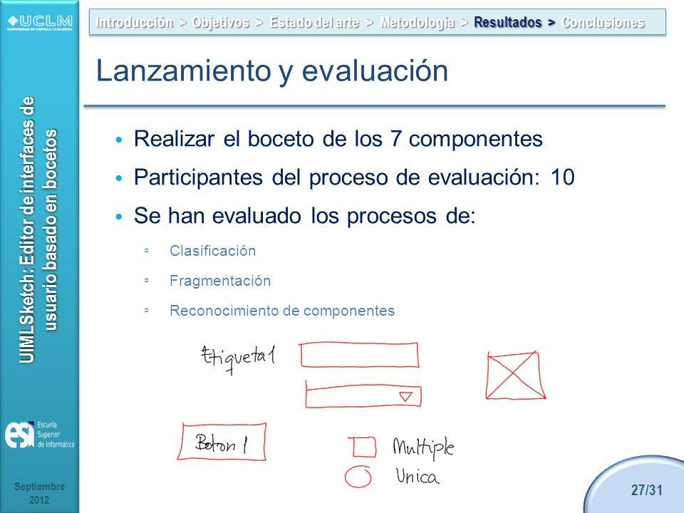 UIMLSketch: Editor de interfaces de usuario basado en bocetos Realizar el boceto de los 7 componentes Participantes del proceso de evaluación: 10 Se han evaluado los procesos de: Clasificación Fragmentación Reconocimiento de componentes Septiembre 2012 27/31 Introducción > Objetivos > Estado del arte > Metodología > Resultados > Conclusiones Lanzamiento y evaluación
