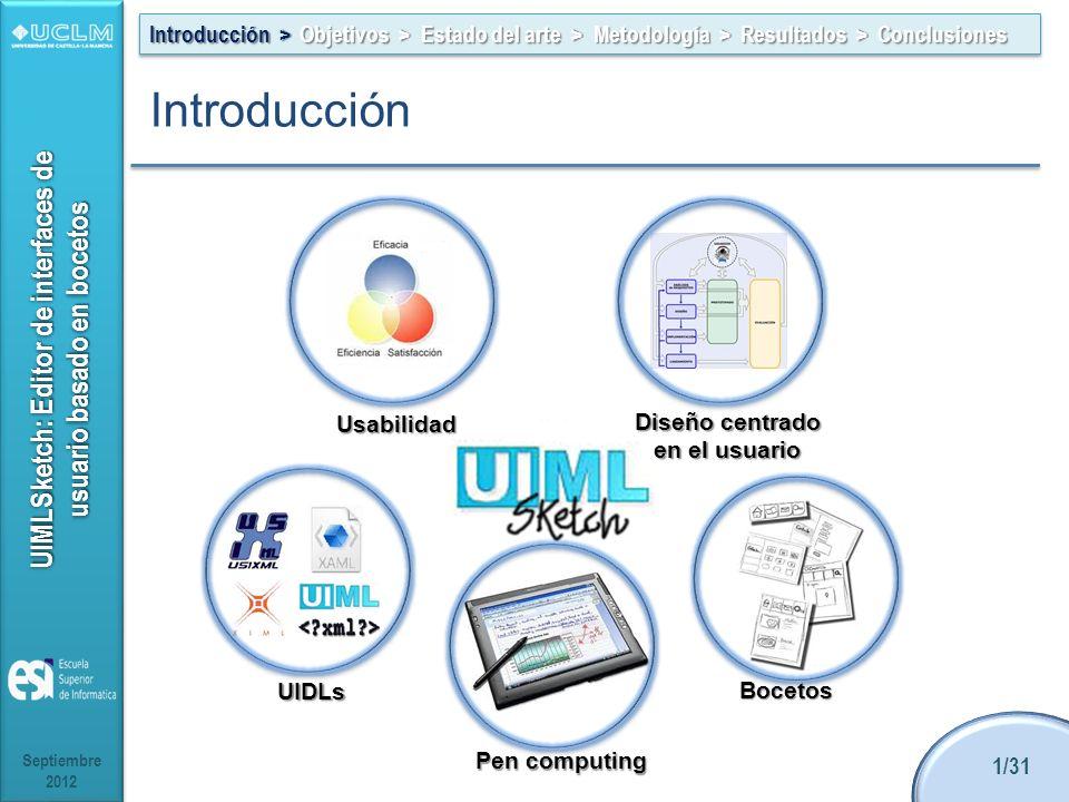 UIMLSketch: Editor de interfaces de usuario basado en bocetos Introducción Septiembre 2012 1/31 Introducción > Objetivos > Estado del arte > Metodología > Resultados > Conclusiones Diseño centrado en el usuario UIDLs Pen computing Bocetos Usabilidad