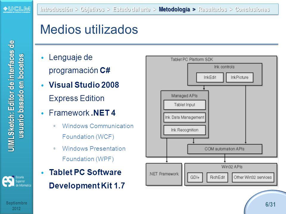UIMLSketch: Editor de interfaces de usuario basado en bocetos Lenguaje de programación C# Visual Studio 2008 Express Edition Framework.NET 4 Windows C