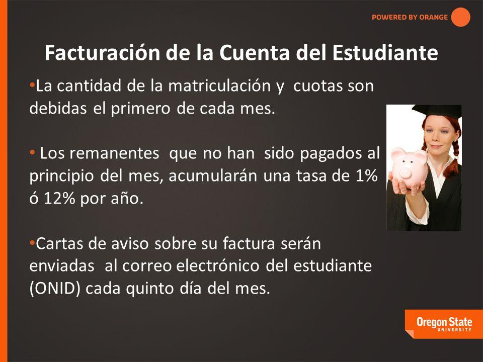Facturación de la Cuenta del Estudiante La cantidad de la matriculación y cuotas son debidas el primero de cada mes.