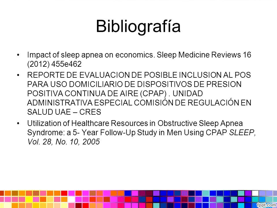 Bibliografía Impact of sleep apnea on economics. Sleep Medicine Reviews 16 (2012) 455e462 REPORTE DE EVALUACION DE POSIBLE INCLUSION AL POS PARA USO D