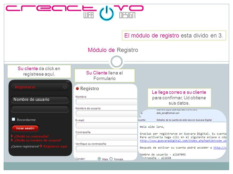 Módulo de Registro El módulo de registro esta divido en 3. Su cliente da click en regístrese aquí. Su Cliente llena el Formulario Le llega correo a su