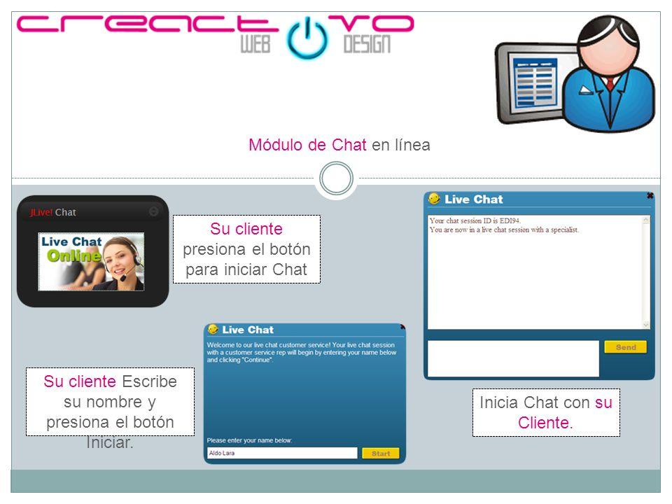 Módulo de Chat en línea Su cliente presiona el botón para iniciar Chat Su cliente Escribe su nombre y presiona el botón Iniciar.