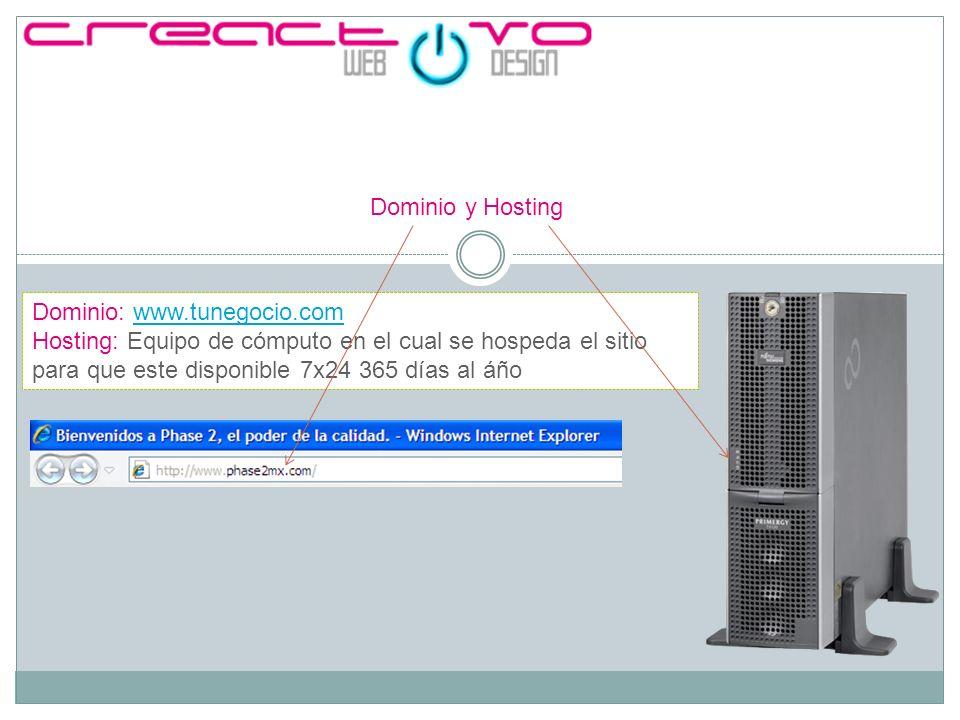 Dominio y Hosting Dominio: www.tunegocio.comwww.tunegocio.com Hosting: Equipo de cómputo en el cual se hospeda el sitio para que este disponible 7x24 365 días al áño