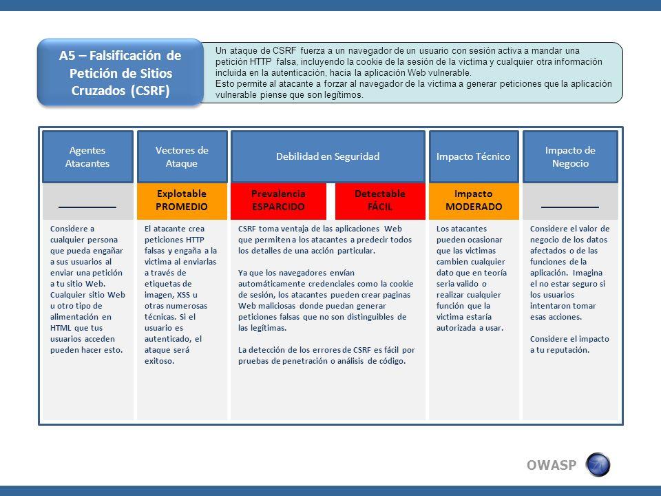 OWASP Un ataque de CSRF fuerza a un navegador de un usuario con sesión activa a mandar una petición HTTP falsa, incluyendo la cookie de la sesión de l