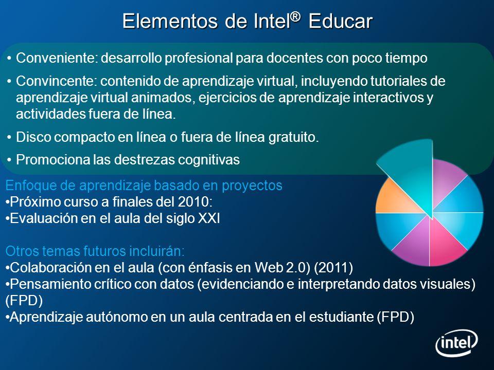 Elementos de Intel ® Educar Conveniente: desarrollo profesional para docentes con poco tiempo Convincente: contenido de aprendizaje virtual, incluyend