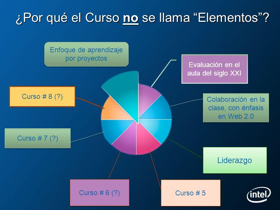 Evaluación en el aula del siglo XXI ¿Por qué el Curso no se llama Elementos? Enfoque de aprendizaje por proyectos Colaboración en la clase, con énfasi