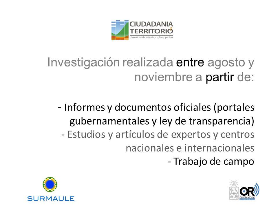 Investigación realizada entre agosto y noviembre a partir de: - Informes y documentos oficiales (portales gubernamentales y ley de transparencia) - Es