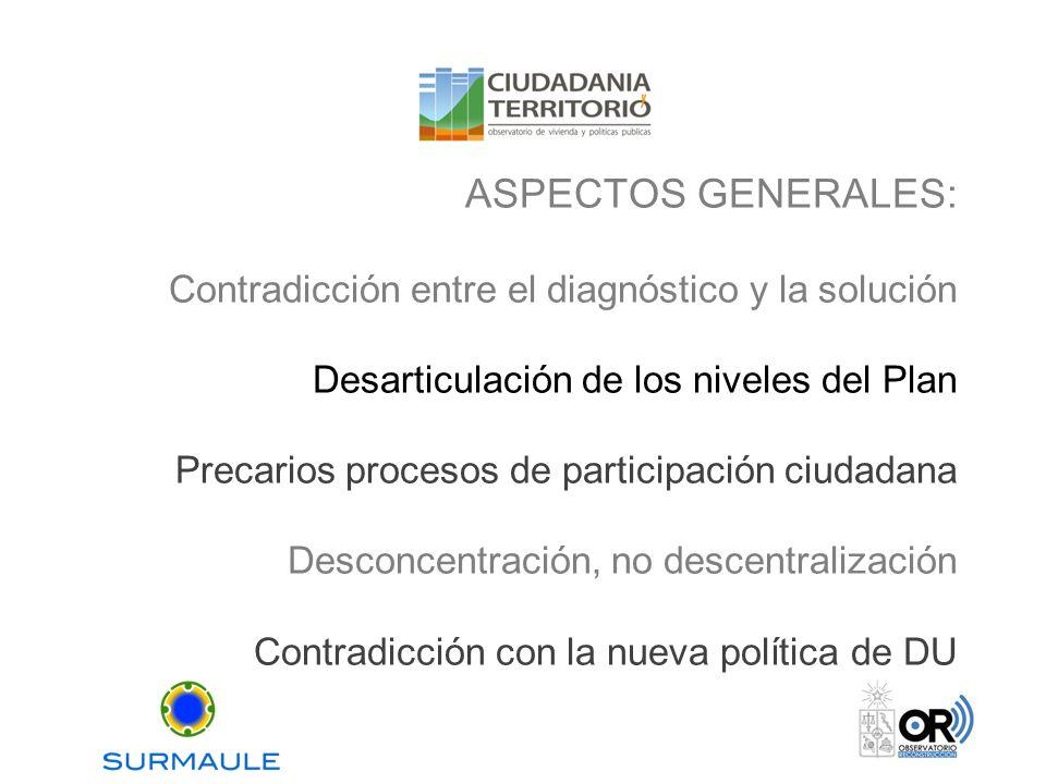 ASPECTOS GENERALES: Contradicción entre el diagnóstico y la solución Desarticulación de los niveles del Plan Precarios procesos de participación ciuda