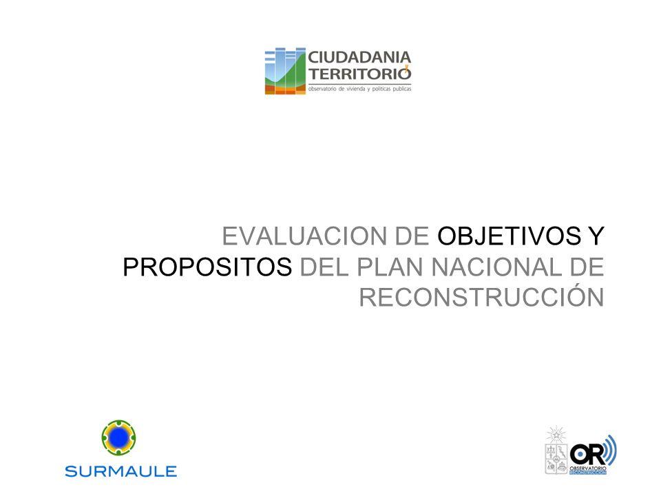 EVALUACION DE OBJETIVOS Y PROPOSITOS DEL PLAN NACIONAL DE RECONSTRUCCIÓN
