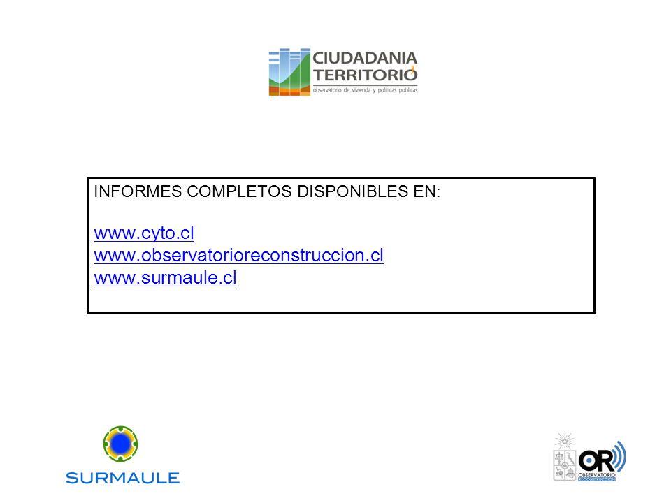 INFORMES COMPLETOS DISPONIBLES EN: www.cyto.cl www.observatorioreconstruccion.cl www.surmaule.cl