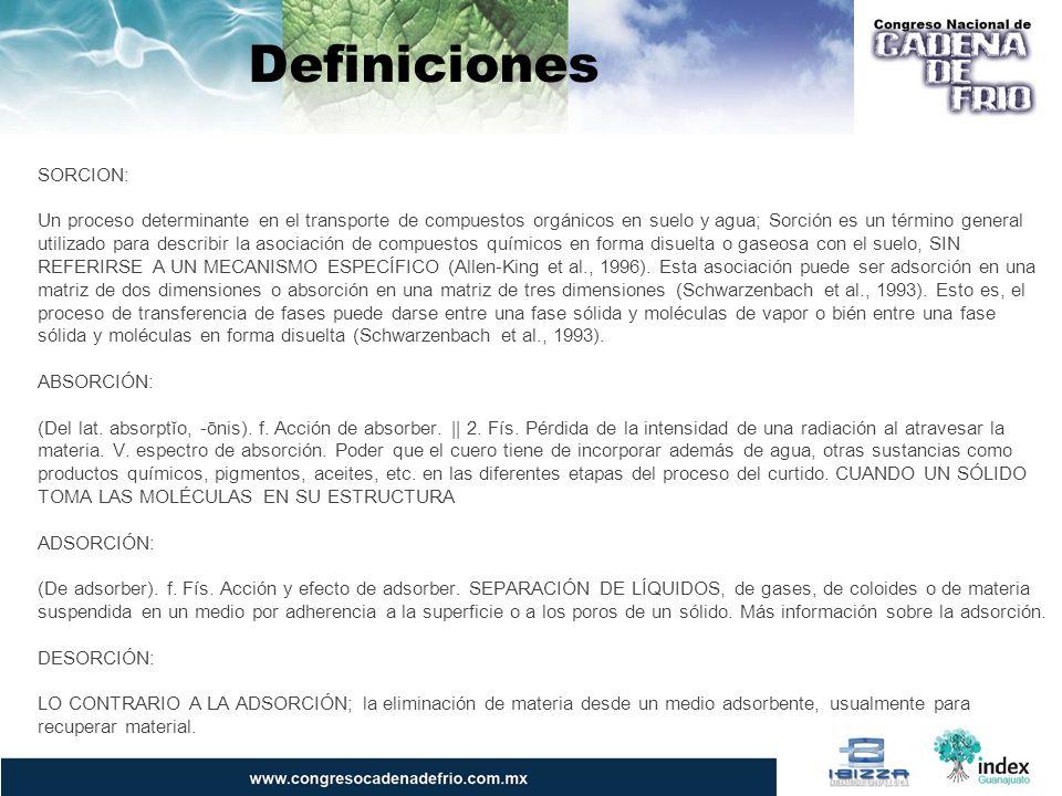 Definiciones SORCION: Un proceso determinante en el transporte de compuestos orgánicos en suelo y agua; Sorción es un término general utilizado para d