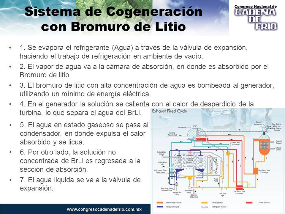 Sistema de Cogeneración con Bromuro de Litio 5. El agua en estado gaseoso se pasa al condensador, en donde expulsa el calor absorbido y se licua. 6. P
