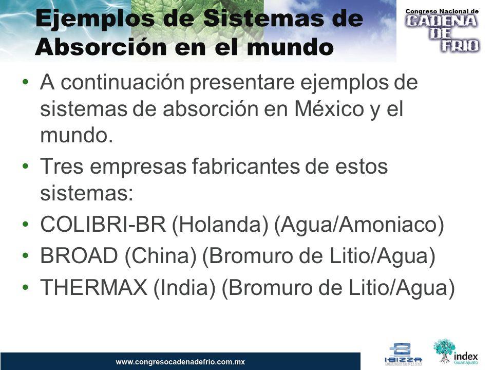 Ejemplos de Sistemas de Absorción en el mundo A continuación presentare ejemplos de sistemas de absorción en México y el mundo. Tres empresas fabrican