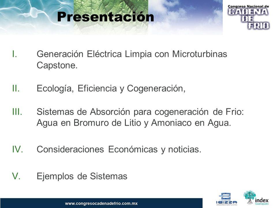 Presentación I.Generación Eléctrica Limpia con Microturbinas Capstone. II.Ecología, Eficiencia y Cogeneración, III.Sistemas de Absorción para cogenera