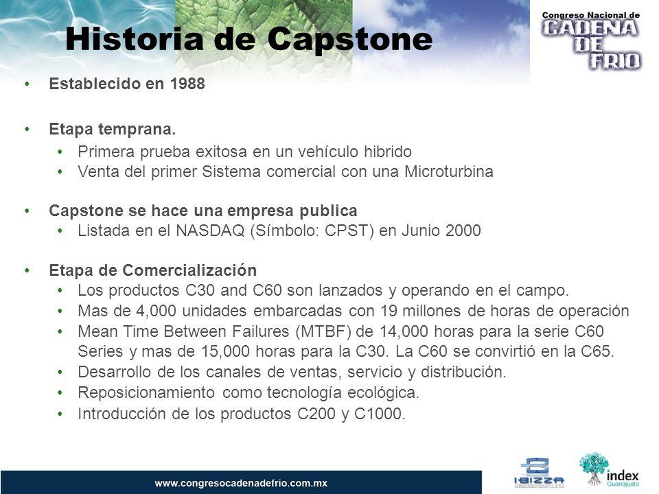 Historia de Capstone Establecido en 1988 Etapa temprana. Primera prueba exitosa en un vehículo hibrido Venta del primer Sistema comercial con una Micr