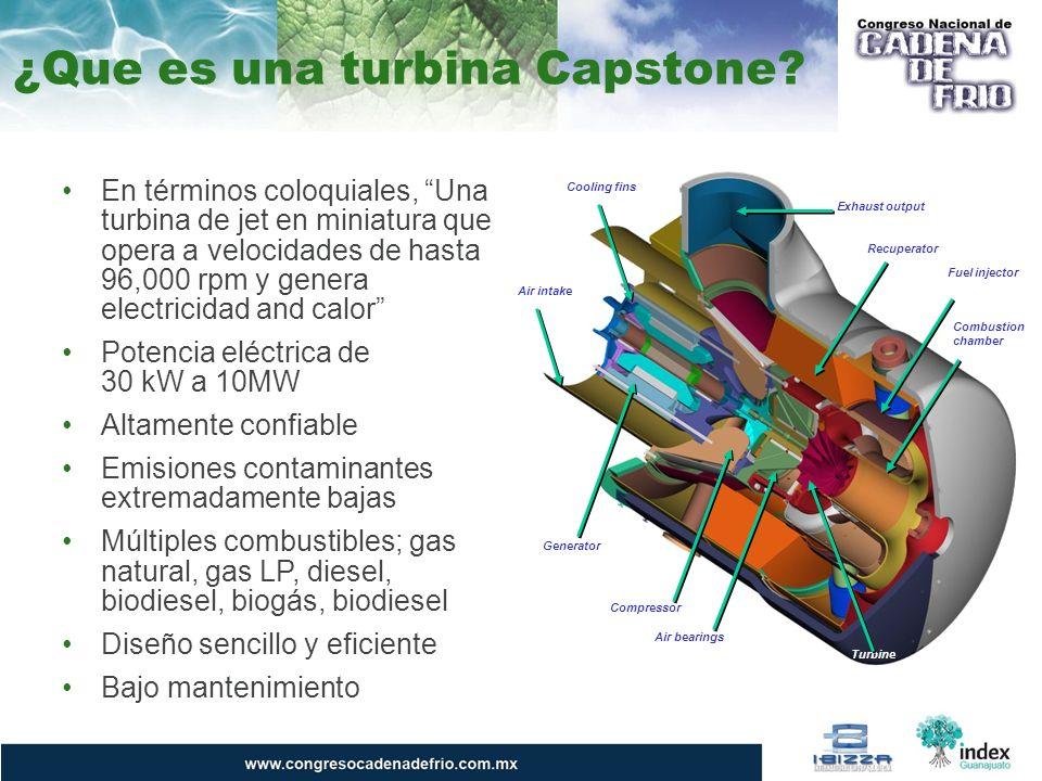 ¿Que es una turbina Capstone? En términos coloquiales, Una turbina de jet en miniatura que opera a velocidades de hasta 96,000 rpm y genera electricid