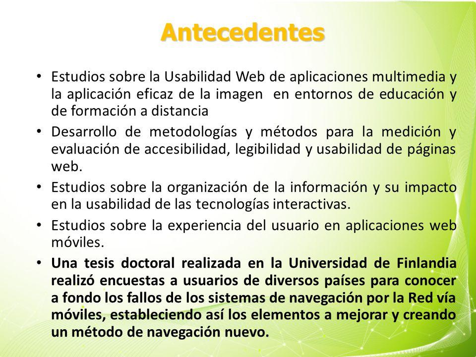 Usabilidad Estudios sobre la Usabilidad Web de aplicaciones multimedia y la aplicación eficaz de la imagen en entornos de educación y de formación a d