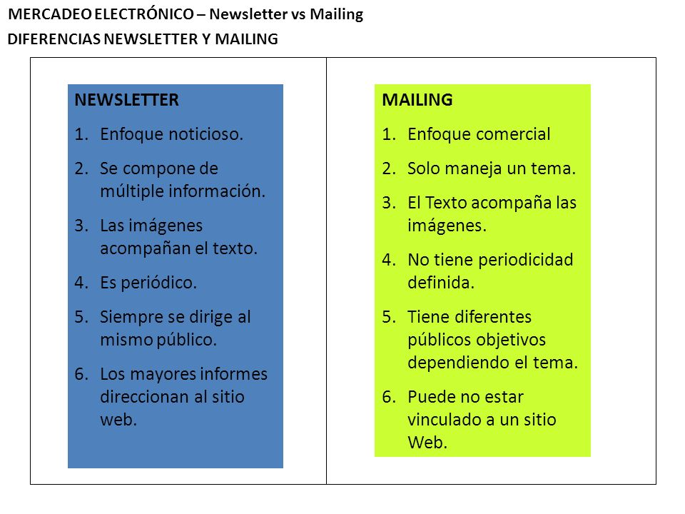 DIFERENCIAS NEWSLETTER Y MAILING MERCADEO ELECTRÓNICO – Newsletter vs Mailing NEWSLETTER 1.Enfoque noticioso.